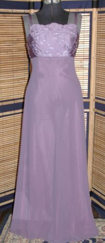 Bari Jay Lavender Embroidered Formal Evening Wedding Prom Party Gown Dress Sz 8
