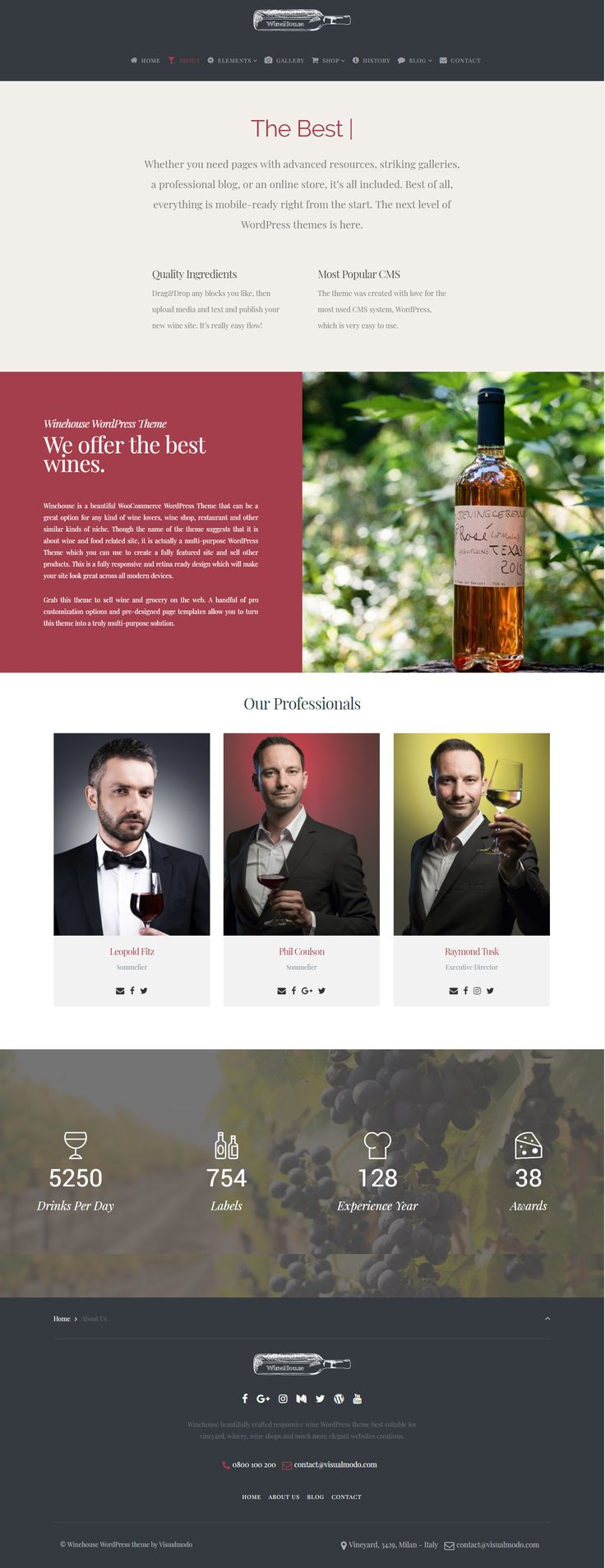 Winehouse WordPress Theme https://visualmodo.com/theme/winehouse-wordpress-theme/ Specially designed for all the wineries, wine shops & bars, pubs, online wine sales, breweries, blogs, vineyards as well as independent dining, restaurants and star hotel's premium bars and cafes. Winery theme is a delightful wine responsive multi-purpose template 🍷🍇 #WordPress #Theme #Wine #Responsive #SiteBuilder #Plugins #Templates #winery #vineyard