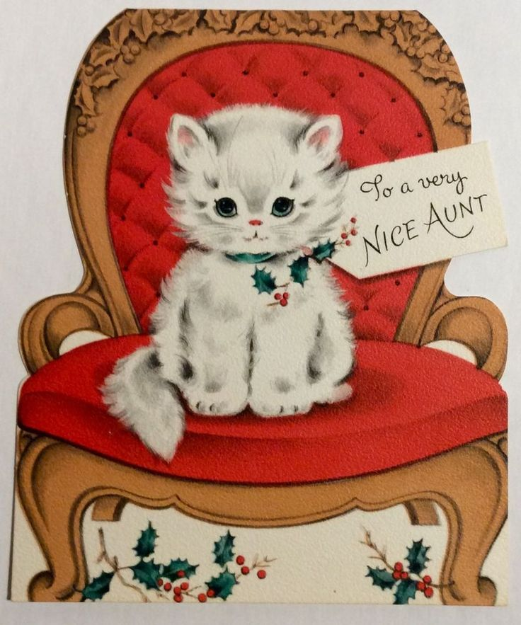 Precious White Fluffy Kitten Red Tufted Chair Vintage Christmas Greeting Card