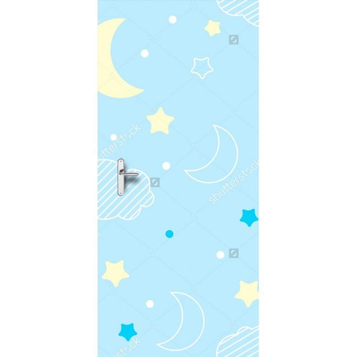 Deursticker Weltrusten | Een deursticker is precies wat zo'n saaie deur nodig heeft! YouPri biedt deurstickers zowel mat als glanzend aan en ze zijn allemaal weerbestendig! Verkrijgbaar in verschillende afmetingen.   #deurstickers #deursticker #sticker #stickers #interieur #interieurprint #interieurdesign #foto #afbeelding #design #diy #weerbestendig #nacht #tekening #illustratie #baby #babykamer #blauw #maan #sterren #wolken