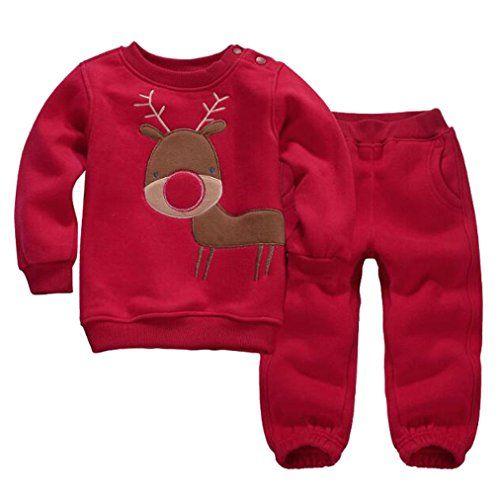 LUKYCILD Baby Girl Boy Cartoon Sweater Pant Outfit Set Dinner