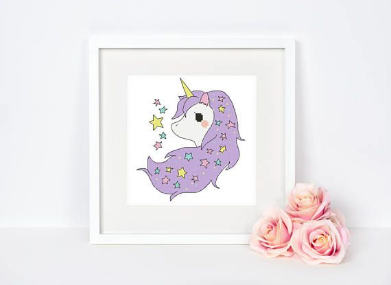 Unicorn Cross stitch pattern Nursery Little pony Alicorn Cute Baby room Kids Wall decor Modern Colorful Star Instant download PDF #060