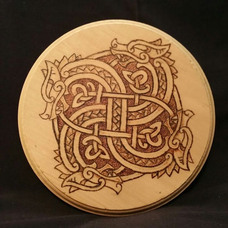 Viking Dragon Wheel Wood Burning - Altar Tile - Decor by TooOldCrows on Etsy