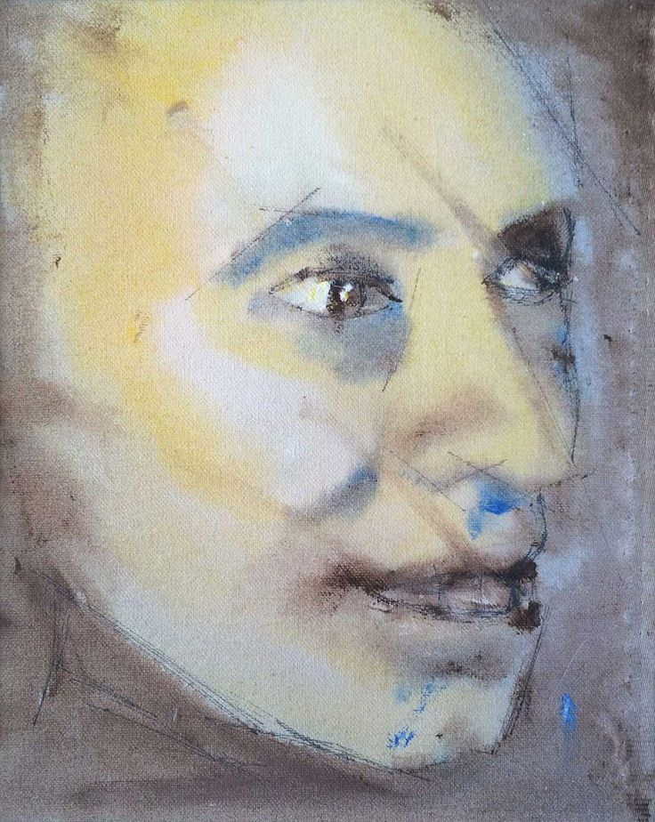 A Soulful Art Legacy: 25 David Bowie Paintings - DHead (?) – portrait of Mike Garson (Courtesy of Mike Garson – thanks to Mike and Mark)