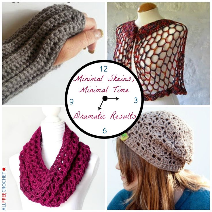 Minimal Skeins, Minimal Time, Dramatic Results - If you're short on time or only have minimal skein choices then you're in luck. Each of these crochet patterns can be made in a quick period of time or use a small amount of yarn.