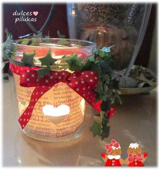 Pilukas douces: Décorez avec des bougies. Réutiliser des pots en verre.