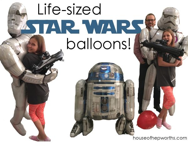 Life-sized STAR WARS balloons! Coolest balloons ever! R2D2, Stormtrooper, airwalker, jumbo balloon, party, star wars day, may the forth be with you www.houseofhepworths.com