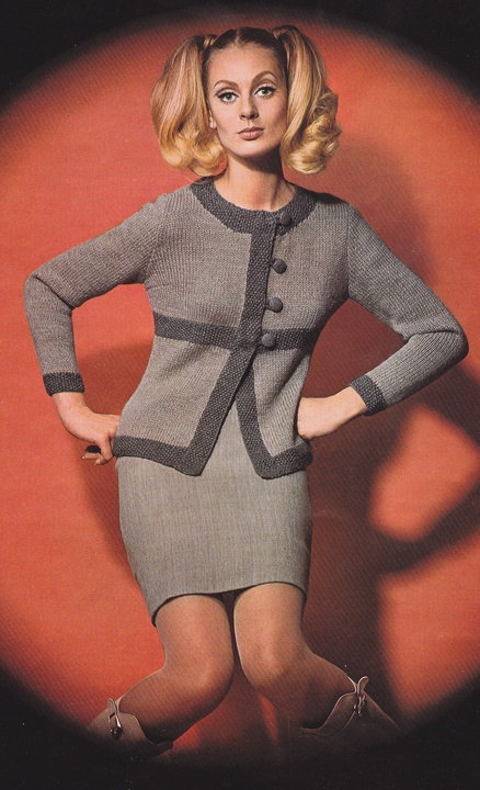 1960'S Vintage Knitting Pattern Two Tone Trim by LittleGalsStudio, $2.50 Ridiculous  pose and styling, but quite a nice suit