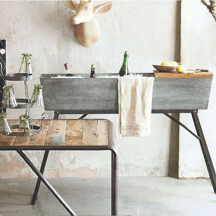 Beautiful Galvanized Wine Trough: Amazing Beverage Stand In Your Industrial Style  Home, $260.00