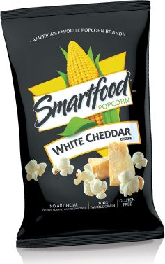 Smartfood® Popcorn's White Cheddar flavor is what road trips are about. Pair it with BEEF JERKY OM NOM NOM.