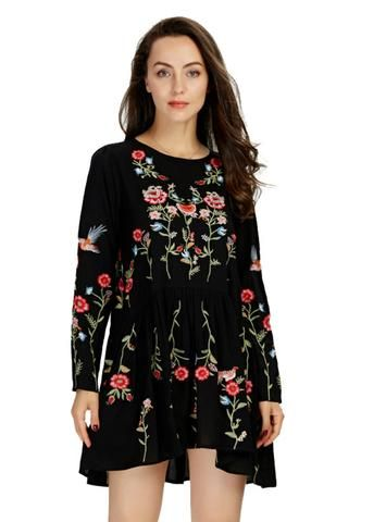 946203136c3 Floral Embroidery A-line Dress Long Sleeve O-neck Dresses in 2019 ...