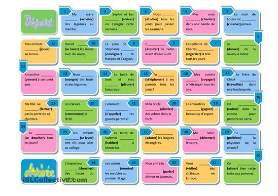 Conjuguer les verbes du premier group au présent pour compléter les phrases. - Fiches FLE