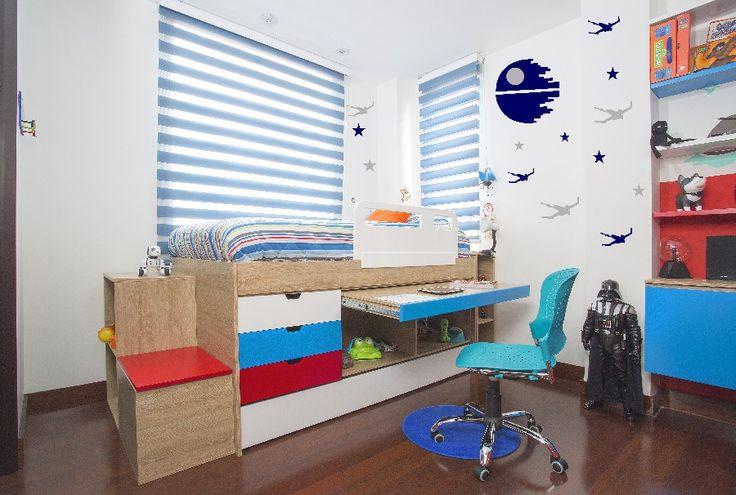 Lo que necesitas saber para crear el dormitorio ideal para un niño. Pisos. Cama. Estantería. Papel tapiz. Silla. Persianas. Accesorios. Encuentra dónde comprar este diseño y Producto en Colombia.