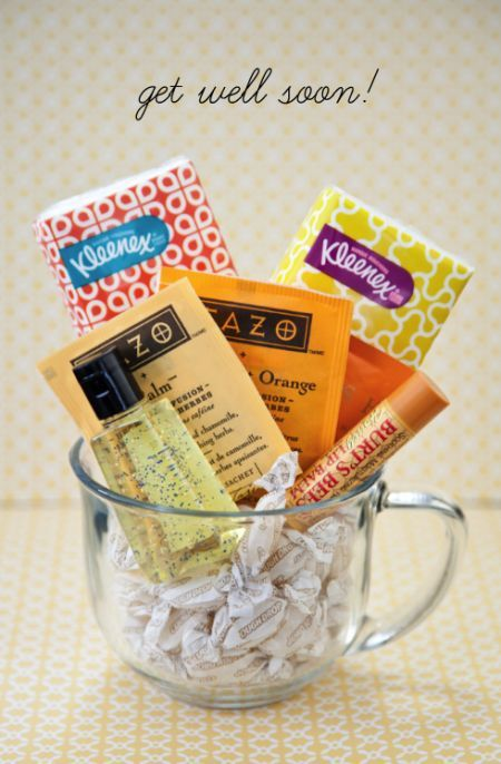 A nice get well gift – fill the cup with throat lozenges, tea, lip balm, tissues etc. perhaps add a piece of fine poetry or a humorous story. Better yet, Add a picture of a happy moment you shared together.