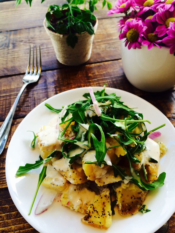 Our favorite roast potato salad at all times! Roast potato, celery, rocket, red onion with Lemon Dijon dressing  #Bird On A Wire  #GlutenFree #DairyFree #NutFree