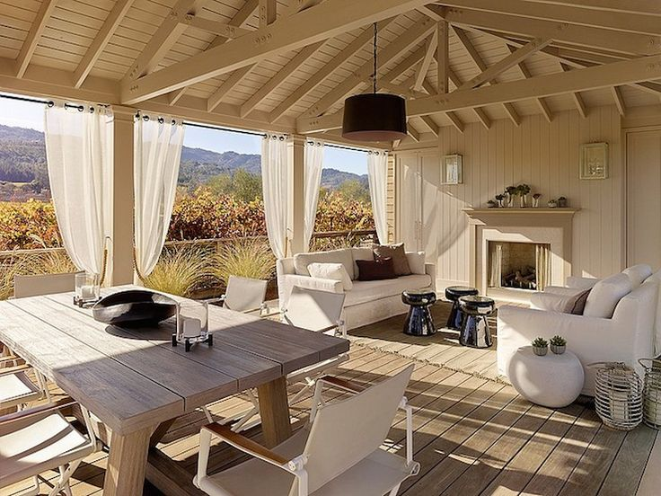 Andrew Mann Architecture - decks/patios - covered deck, covered deck with fireplace