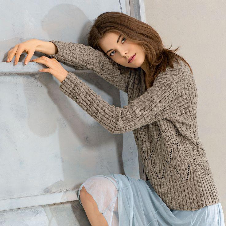Пуловер с сочетанием узоров