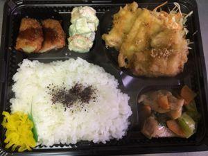 平成26年4月14日(月)ランチメニュー:豚肉マスタードしょう/鶏とチンゲン菜中華風/ポテトハムカツ/きゅうちくマヨ