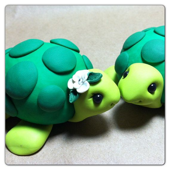 Turtle+Wedding+Cake+Topper+Handmade+by+LuLuAmour+on+Etsy