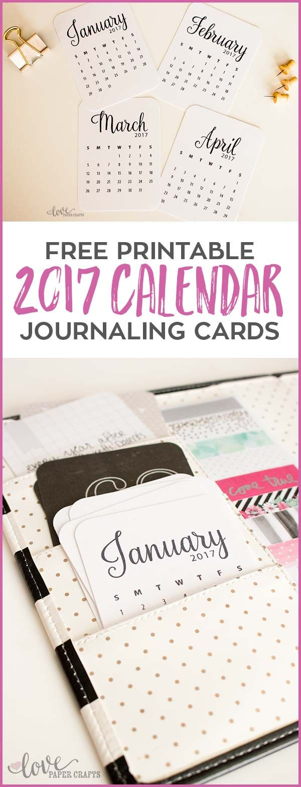 Free Printable 2017 Calendar Journaling Cards. These are cute and can be used in the #planner #projectlife or #scrapbooking   LovePaperCrafts.com