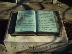 We cherish too, the Poppy red, That grows on fields where valor led, It seems to signal to the skies, That blood of heroes never dies.