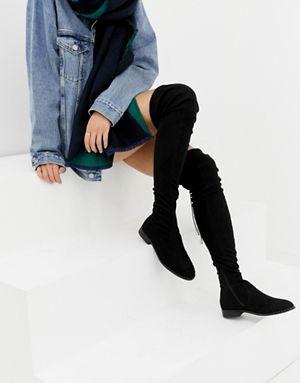 148c50b2174 ASOS DESIGN Slim Kaska flat studded over the knee boots
