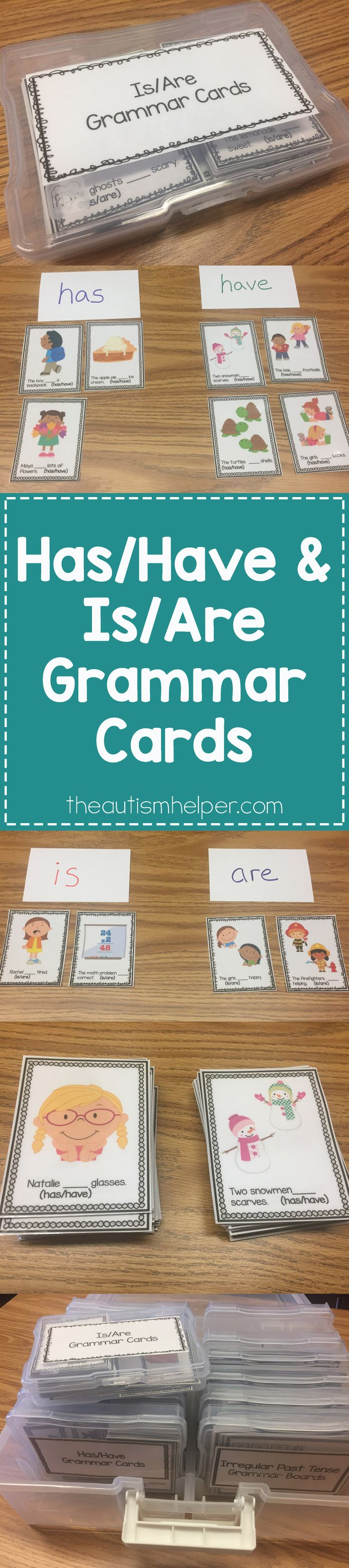 Our Has/Have & Is/Are grammar cards contain 72 cards per set to help students with the repetition needed for grammar skills!! From theautismhelper.com #theautismhelper