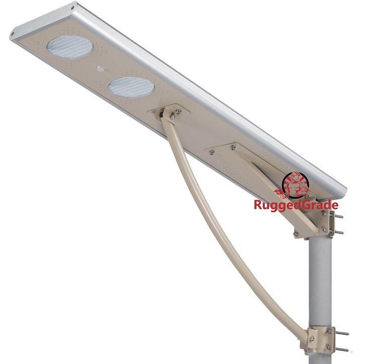 40 Watt LED Solar Street Light - Over 4,000 Lumen - All in One LED Solar Motion Light - Solar Post Light - Professional Grade Street Solar Lighting - Solar Powered & Lithium Ion Battery Included