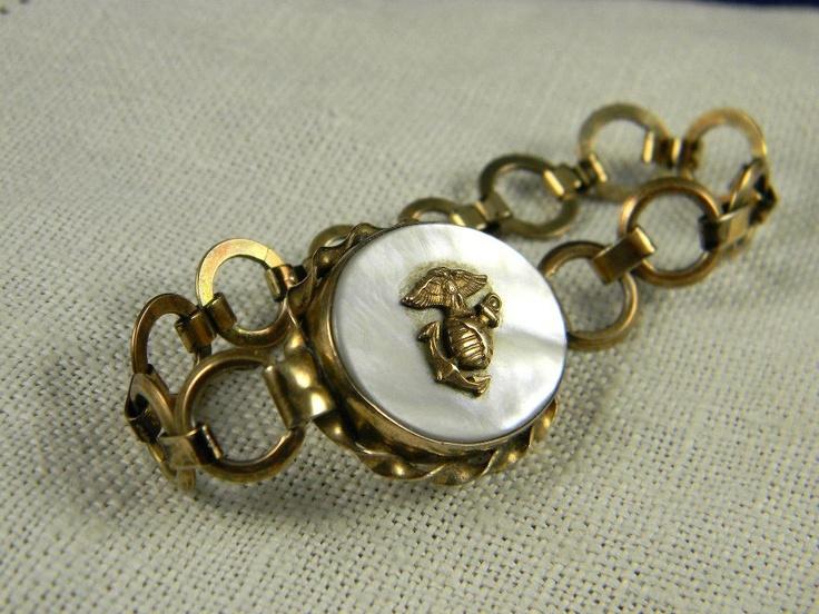 WWII Marine Sweetheart Locket Bracelet