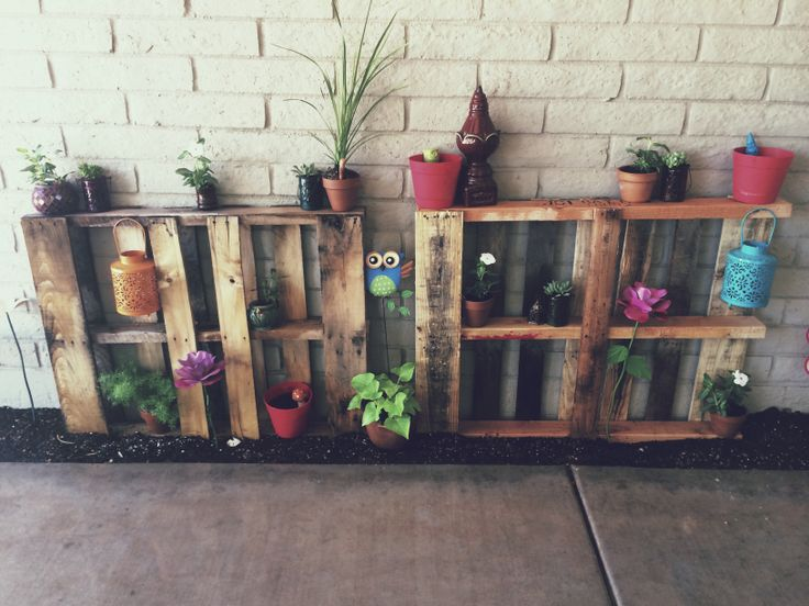 Outdoor Pallet Plant Shelves For The Home Pinterest