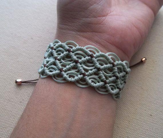 Makrame summer turquoise bracelet  braided boho by KnotknotBijoux