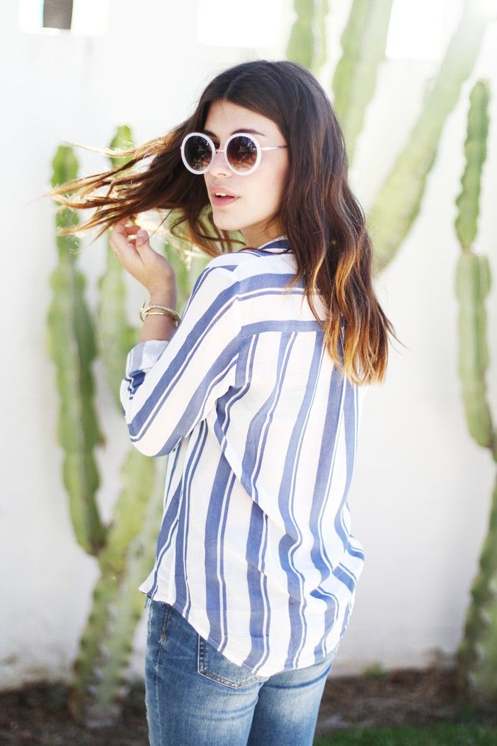 Circle frames and striped button down. so good.