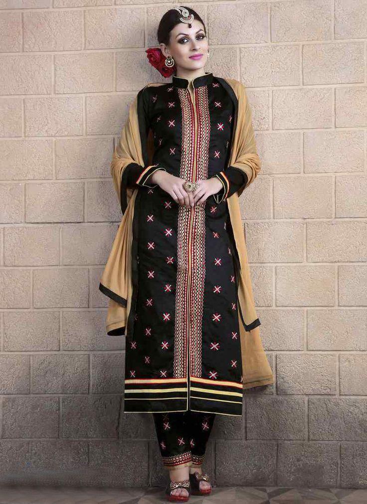 #Black #Cotton Cambric #Achkan #Style #Salwar #Kameez #nikvik  #usa #designer #australia #canada #freeshipping #suits #collar #pakistani