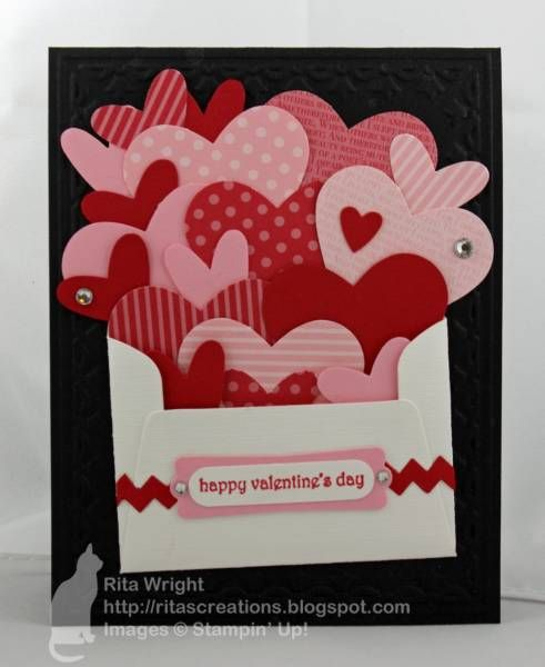 "Valentine's Day card repinned.  Her comment ""Would be cute with my stampin' up heart set"""