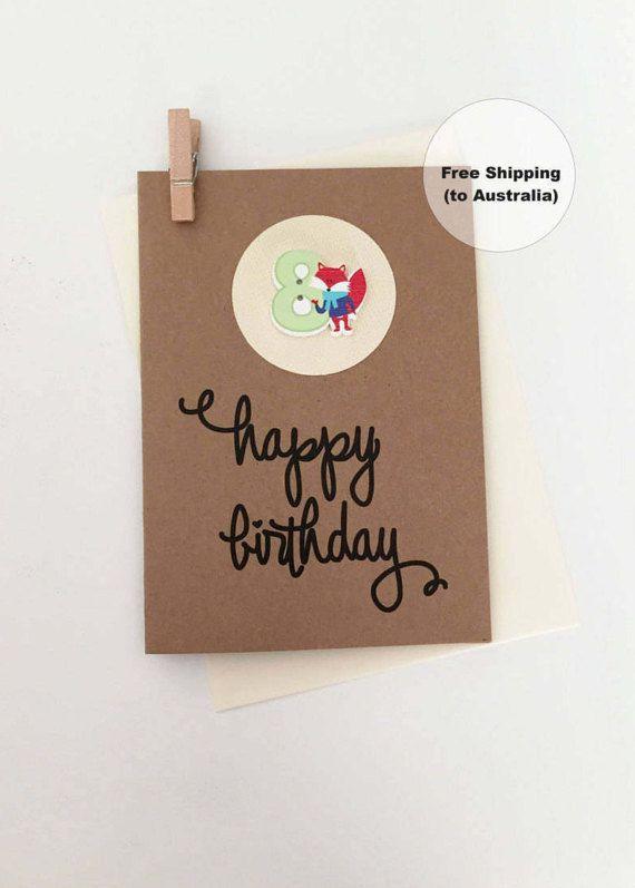 8th Birthday Card – 8th Happy Birthday Card – Age 8 Happy Birthday Card – Eighth Happy Birthday Card – Happy 8th Birthday Card