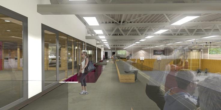 Impressie van het nieuwe interieur van Egerbos I en II te Venlo. Bij dit project staat duurzaamheid, C2C en comfort van de eindgebruikers (sporters)  centraal. De bouw gaat eind maart 2013 van start