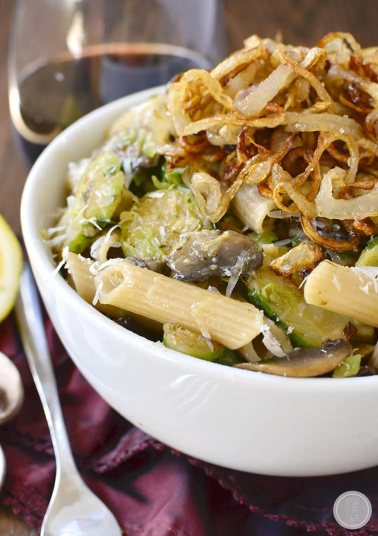 Mushroom and Brussels Sprouts Penne with Crispy Fried Shallots is a ...
