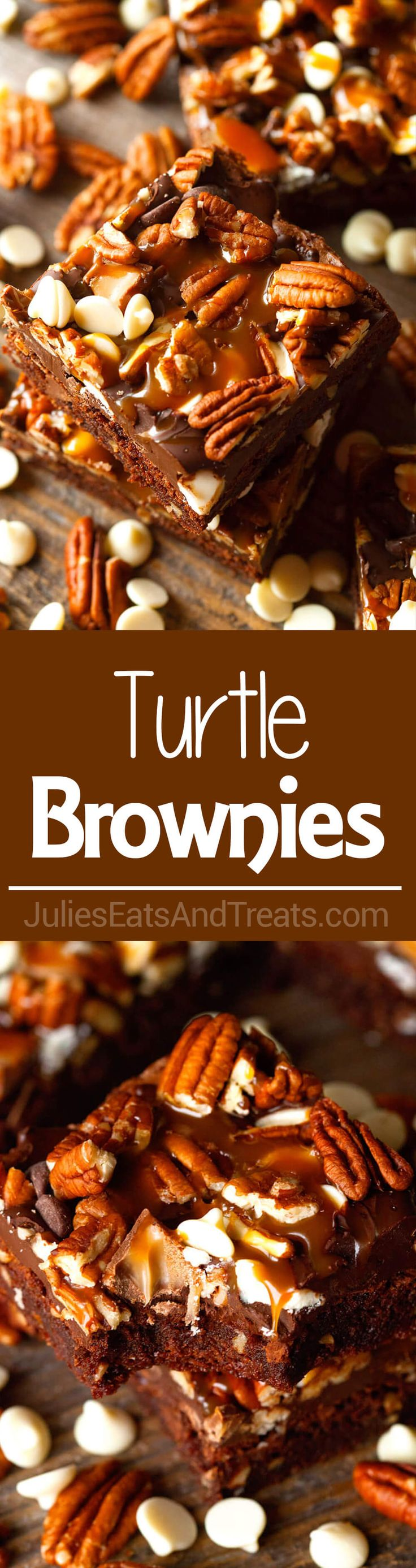 These Turtle Brownies have it all. Fudgy Brownies packed with Chocolate Chips…
