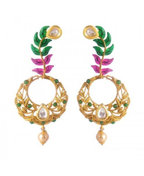 Women's Fashionable Kundan Polki Copper Earrings_Pink Green6