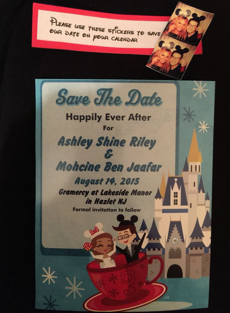 fairytale bridal shower invitation wording%0A Our Disney themed save the date  a magnet for the fridge and stickers for  the calendar  A way to bring our Disney wedding to NJ