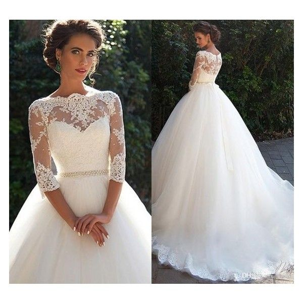 Vintage Lace 3/4 Long Sleeve Ball Gown Wedding Dresses Milla nova 2016... ❤ liked on Polyvore featuring dresses and wedding dresses