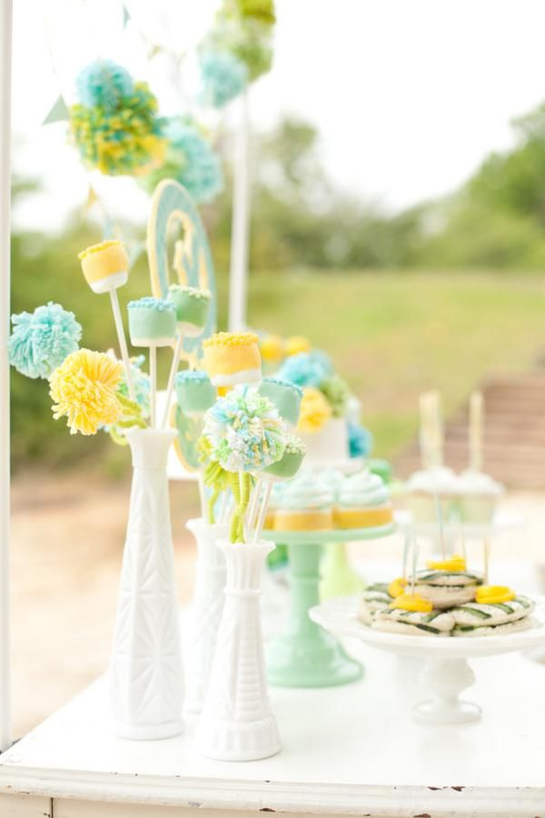 Gender Neutral Baby Shower Decor Made Out Of Yarn! Via Karau0027s Party Ideas Baby  Shower Planner Baby Shower Planner