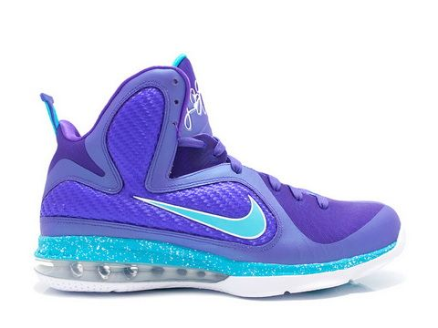 Nike LeBron 9 Summit Lake Hornets  Style code:469764-500,Nike released one last colorway of the standard LeBron 9 signature shoe. This shoe salutes LeBron's old AAU team, the Summit Lake Hornets. It features a proud purple upper with turquoise on the Swoosh logos, heel pull-tab, trim along the tongue, speckled midsole andHornets logo.