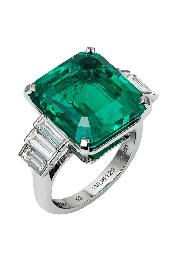 CARTIER - TownandCountrymag.com | Emerald and Diamond Engagement Ring
