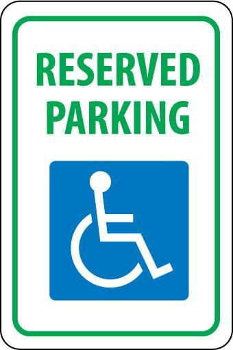 RESERVED PARKING HANDICAPPED, 18X12, .040 ALUM