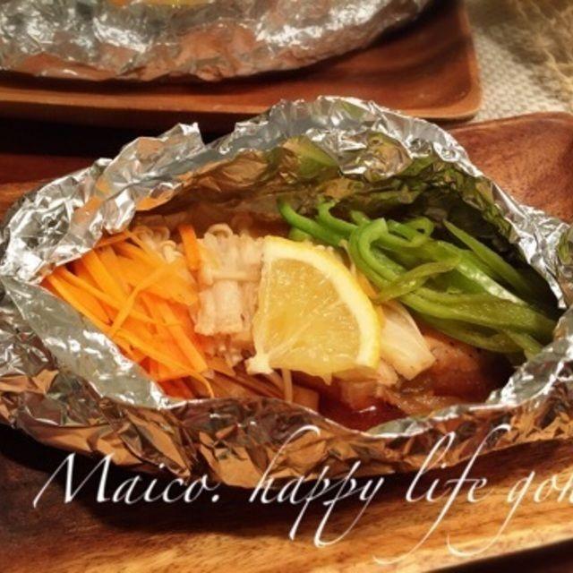 トースターで簡単*野菜たっぷり*バターポン酢で鮭のホイル焼き&今日からプレ保育