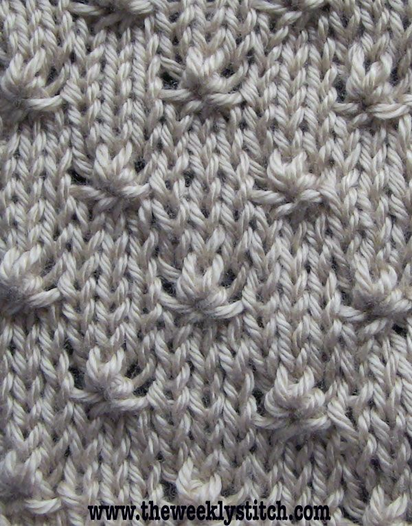 Knot Stitch - Just the right amount of texture to use in an otherwise stockinette stitch garment! From The Weekly Stitch. Going to try this!