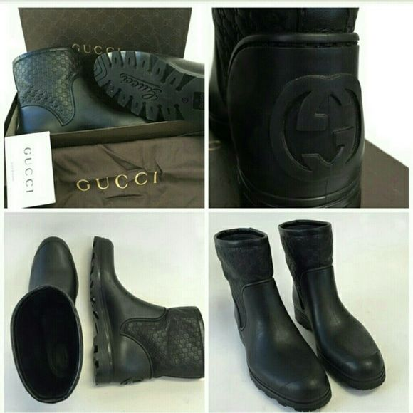 Beautiful Genuine Gucci Boots Size 40 or 10 Authentic Gucci Boots with leather uppers and rubber bottoms. In like new condition. Size 40 or 10 in US size. Gucci Shoes Ankle Boots & Booties