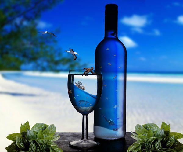 Обои на рабочий стол море пляж вино