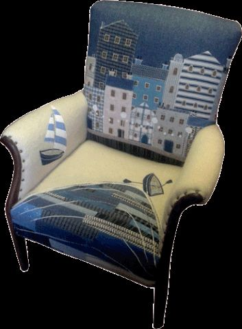 Seascape Chairs This is quite a wide selection of designs including Harbour scenes , beach front houses, rural coastal scenes , boats and fish . Occasionally pe